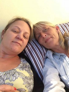 Leanne and I after our sleep in the garden