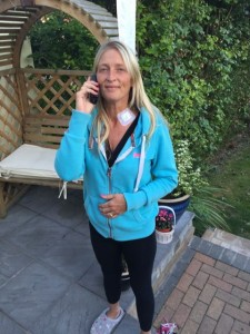 On the phone to Nicky, with my plaster :-)