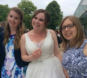 Steph, Amy and Rebecca. Wedding dress repaired!