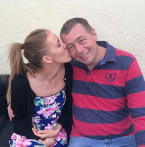 A kiss from Lauren for her Dad, The best Father's Day present in the world