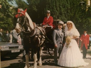 The Wedding Day at the church where she now rests. The car in the photo was the car she died in 8 months later.