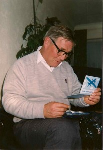 My Dad Christmas 1990 opening his present, a flying lesson