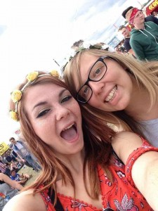 Rebecca in happier times with flowers in her hair at Reading Festival