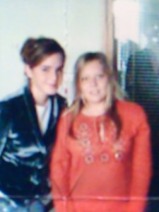A poor photo but this is Rebecca with Emma Watson